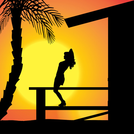 Vector silhouette girls who tan on the terrace. Illustration
