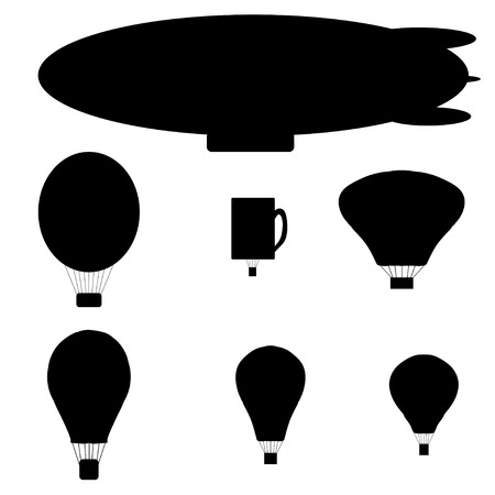 Vector silhouette of a hot air balloon on a white background. Vector