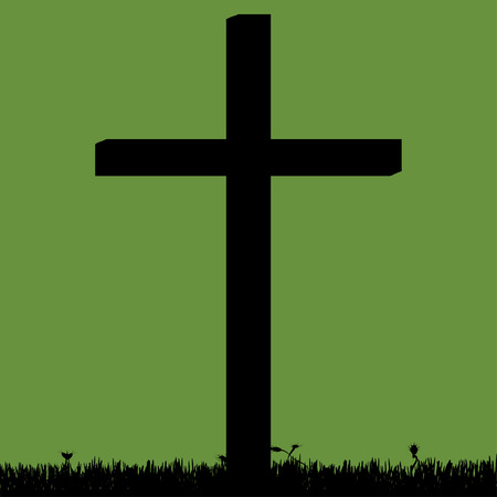 fanatics: Vector silhouette of a cross in the countryside. Illustration