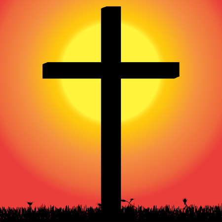 fanatics: Vector silhouette of a cross in the countryside at sunset.