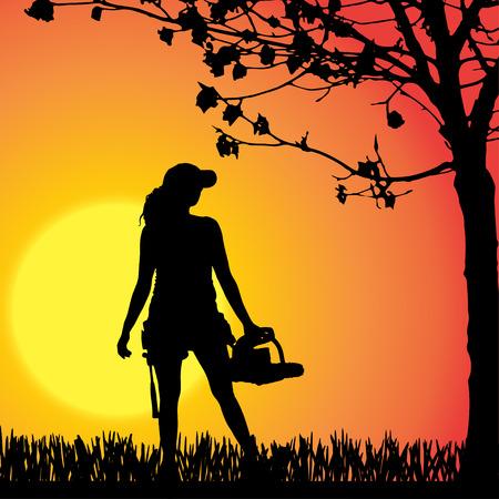 Vector silhouette of woman who work in the garden. Vector