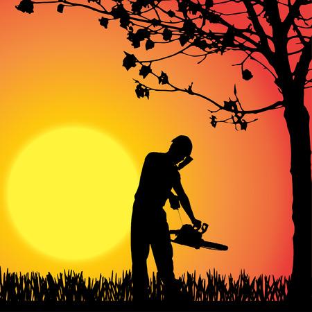 Vector silhouette of man who work in the garden. Vector
