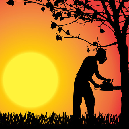 Vector silhouette of man who work in the garden. Vector