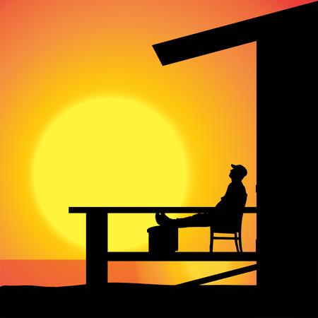 vieil homme assis: Vector silhouette d'un homme vieux, assis sur la terrasse. Illustration