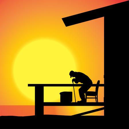 vieil homme assis: Vector silhouette d'un homme �g� assis sur la terrasse.