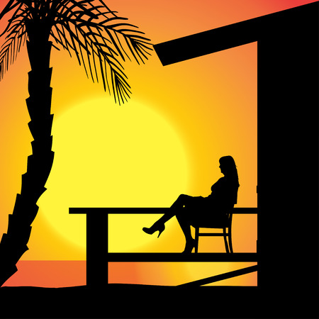 terrace: Vector silhouette girls who tan on the terrace. Illustration