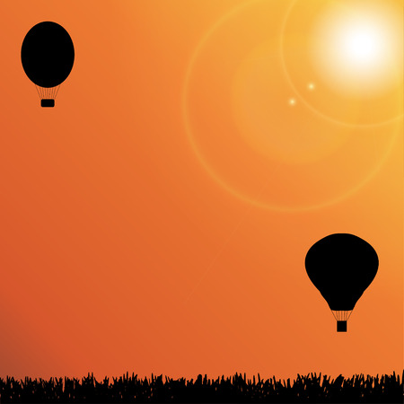 Vector silhouette of a hot air balloon in nature. Vector
