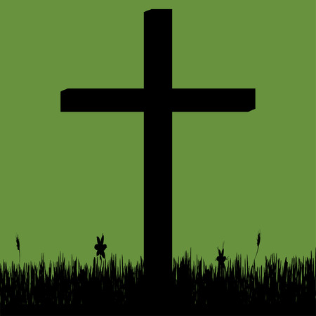 fanaticism: Vector silhouette of a cross in the countryside. Illustration
