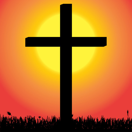 fanaticism: Vector silhouette of a cross in the countryside at sunset.