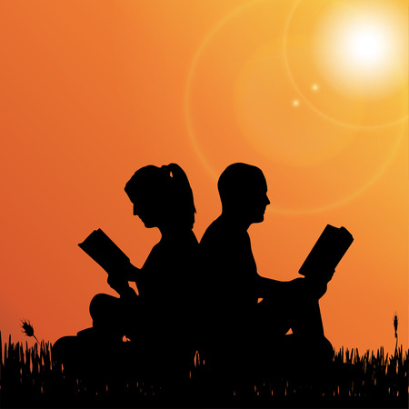 student reading: Vector silhouette of a couple who reads in nature. Illustration