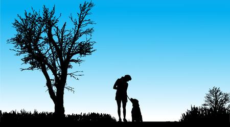 dog days: Silueta de personas con perros en la naturaleza.