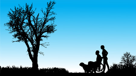 Silhouette of people with dogs in nature. Vector