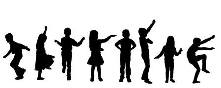 niños bailando: silueta de los niños sobre un fondo blanco.