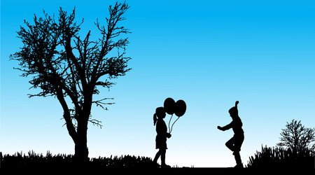 silhouette of children in nature along the beautiful days. Vector