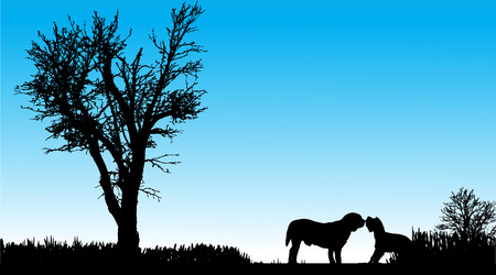 silhouette of a dog in nature on a beautiful day. Vector