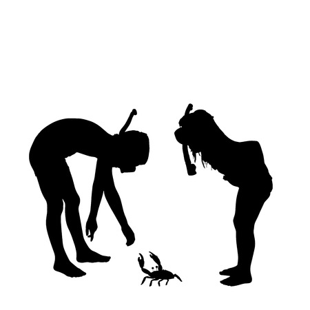 silhouette of children on a white background. Illustration