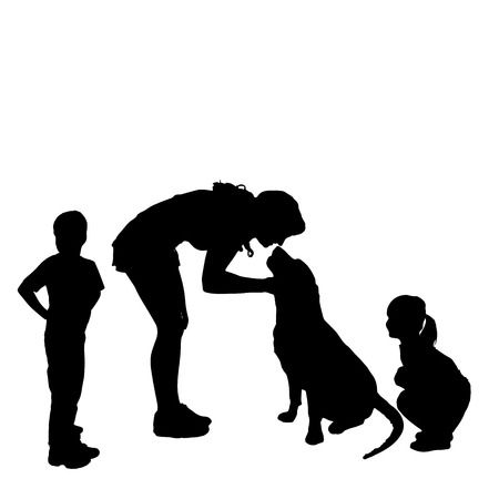 game dog: silhouette of a family with a dog on a white background.