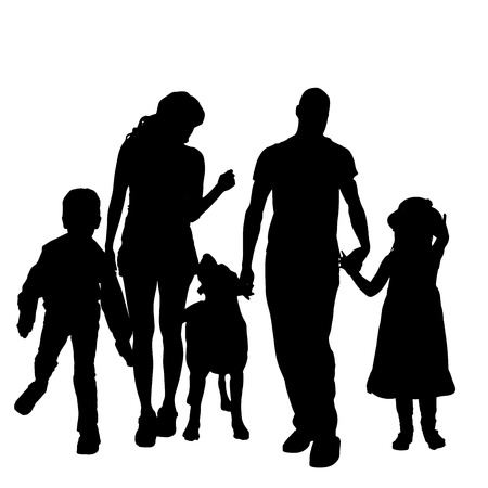 silhouette of a family with a dog on a white background.