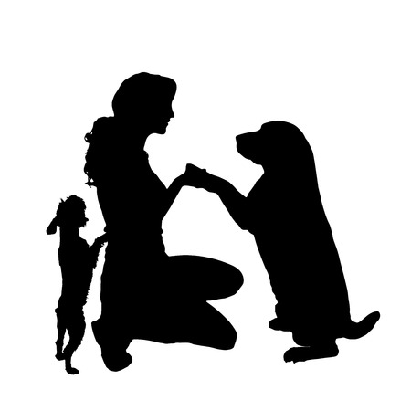 silhouette of people with a dog on a white background.