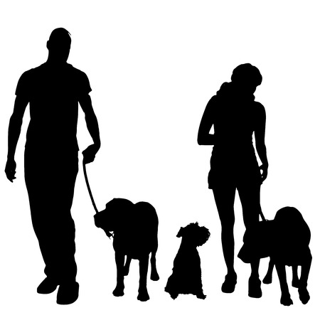 small dog: silhouette of people with a dog on a white background.