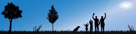 family gardening: silhouette of nature along the beautiful days.