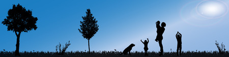 single parent: silhouette of nature along the beautiful days.