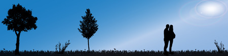 silhouette of nature along the beautiful days. Vector