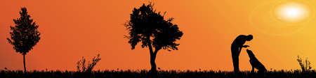 silhouette landscape with trees at sunset. Vector
