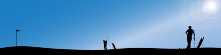 silhouette of people who play golf. Vector