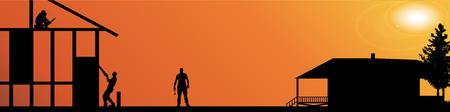 silhouette of workers working at a construction site. Vector