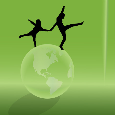 silhouette of the globe on a green background. Vector