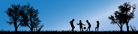 wrestle: Vector silhouette of children in nature along the beautiful days.