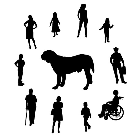 Vector silhouette of people with a dog on a white background. Vector