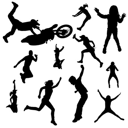 fmx: Vector silhouette of people who are jumping.
