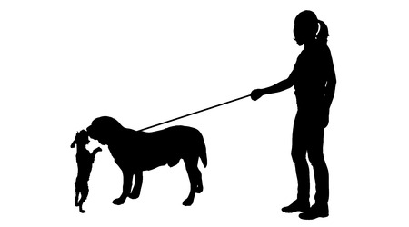 ramble: Vector silhouette of woman with a dog on a white background.