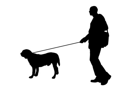 ramble: Vector silhouette of man with a dog on a white background.