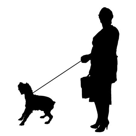 streifzug: Vektor-Silhouette der Frau mit einem Hund auf einem wei�en Hintergrund. Illustration