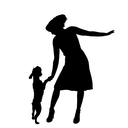 Vector silhouette of woman with a dog on a white background. Vector Illustration