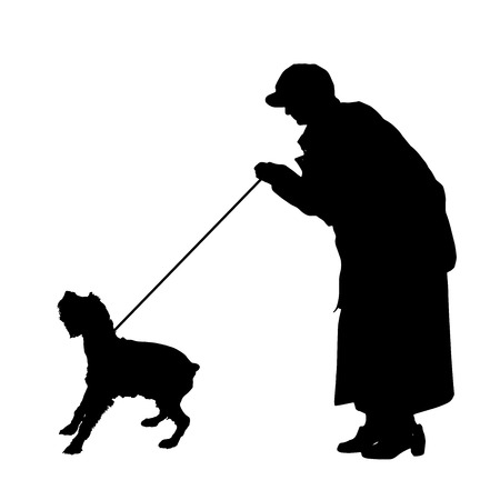 ramble: Vector silhouette of old woman with a dog on a white background.