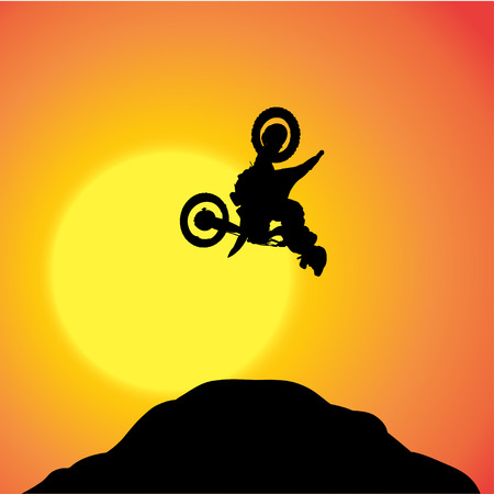 over the hill: Vector silhouette of a biker who jumps over the hill.