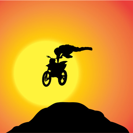 fmx: Vector silhouette of a biker who jumps over the hill.