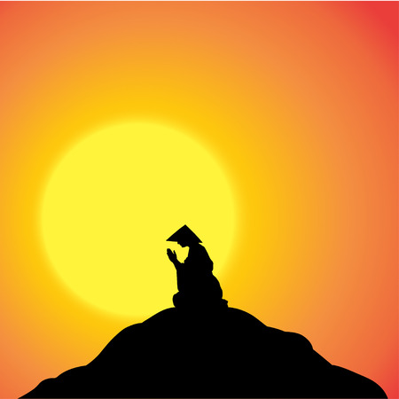 Vector silhouette of Chinese meditator on the hill.