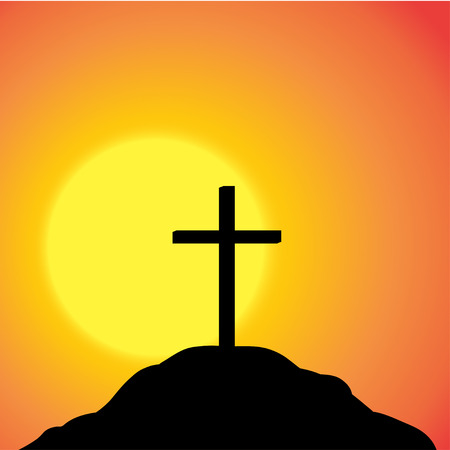 fanatics: Vector silhouette of a cross on top of a mountain at sunset.