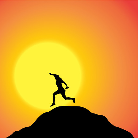jogging in nature: Vector silhouette of a woman in nature at sunset.