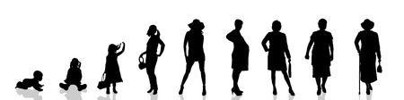 young generation: Vector silhouette of the process of generational people.