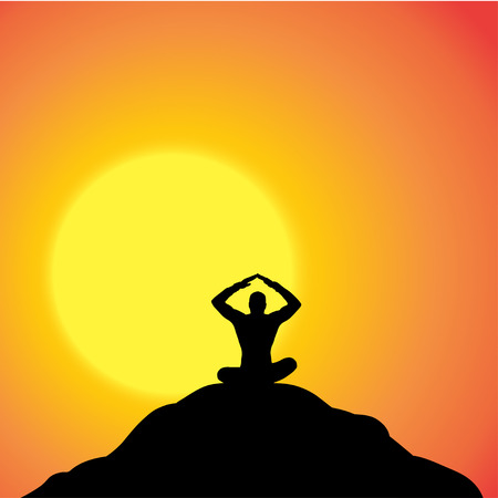 yoga outside: Vector silhouette of a man in nature at sunset. Illustration