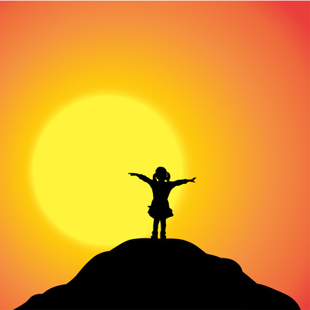 Vector silhouette of a girl in nature at sunset. Vector