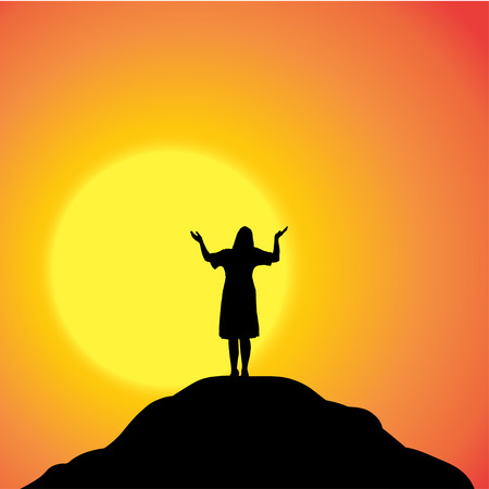 Vector silhouette of a woman in nature at sunset. Vector