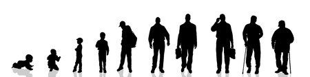 generational: Vector silhouette of the process of generational people.