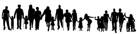 Vektorové silueta skupiny lidí, kteří se drží za ruce.
